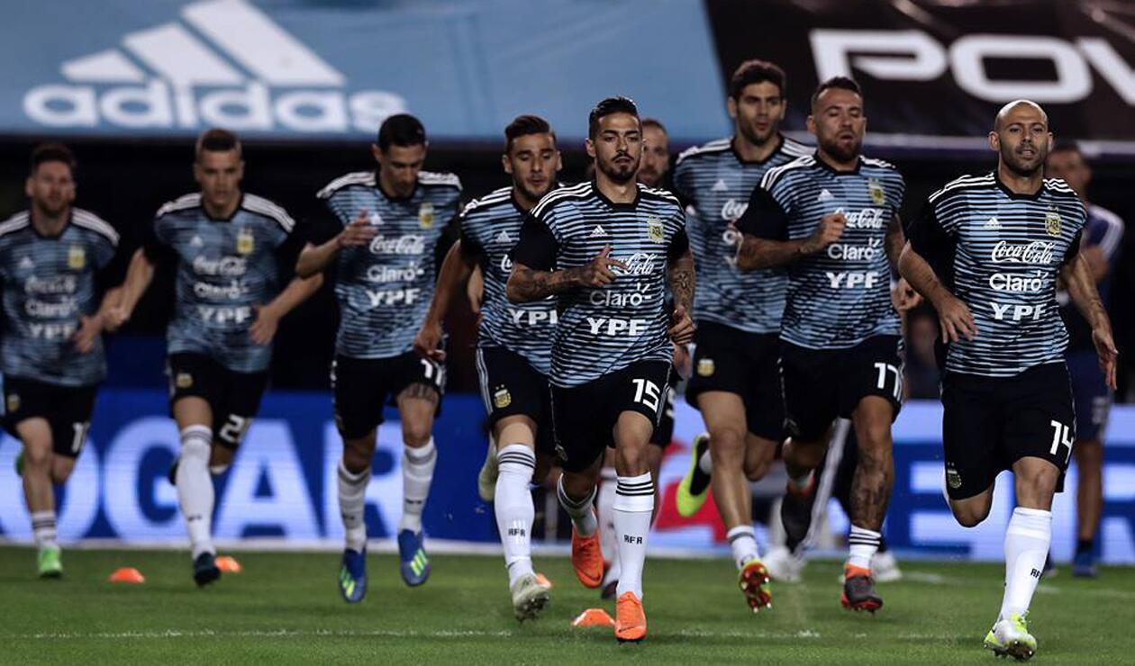 Jugadores de la Selección Argentina entrenando