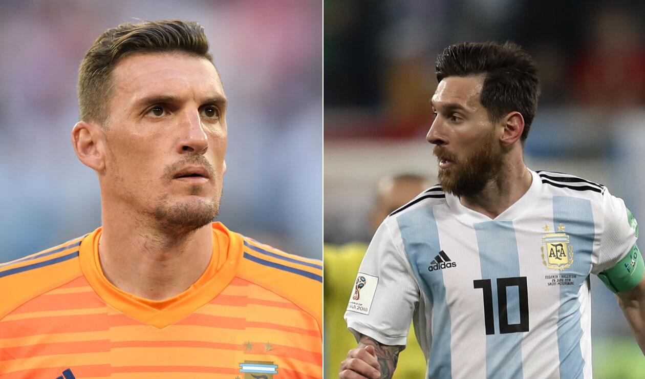 Franco Armani y Lionel Messi con Argentina ante Nigeria