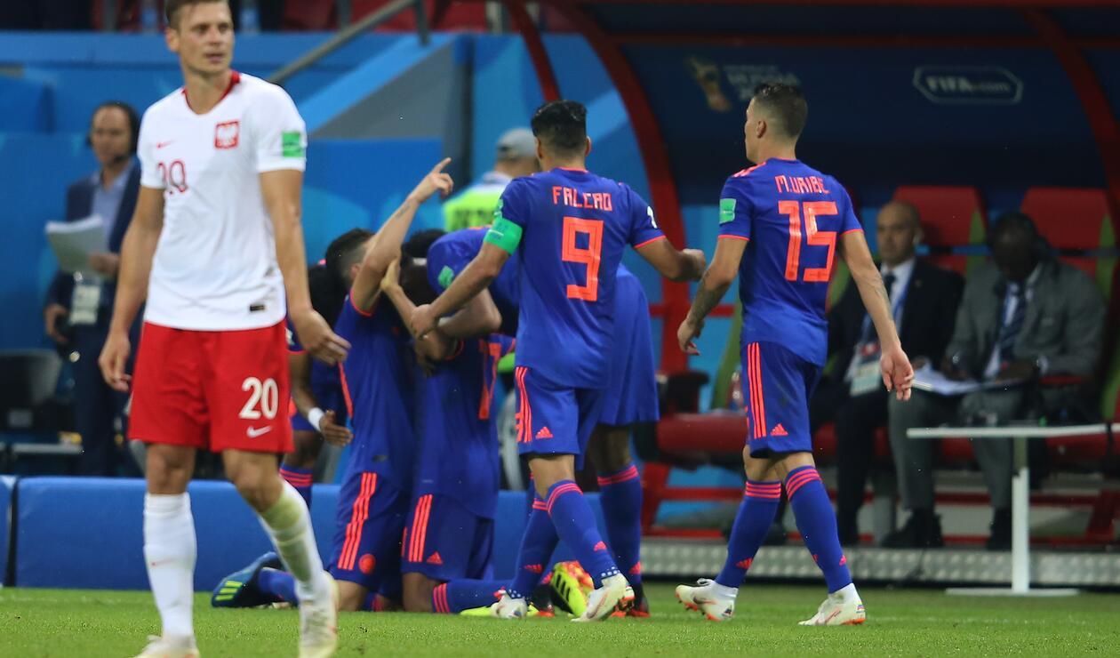 Colombia celebra su primer gol ante Polonia