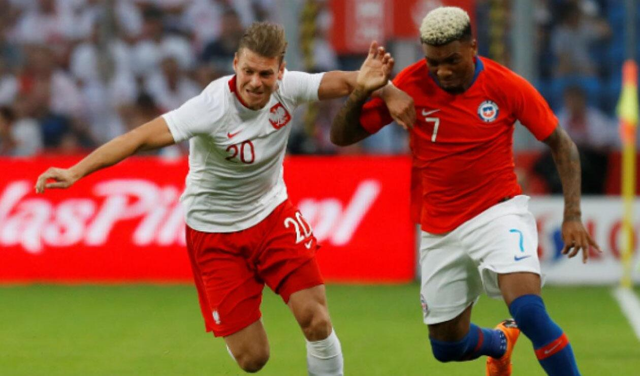 Selección de Polonia en partido amistoso ante Chile