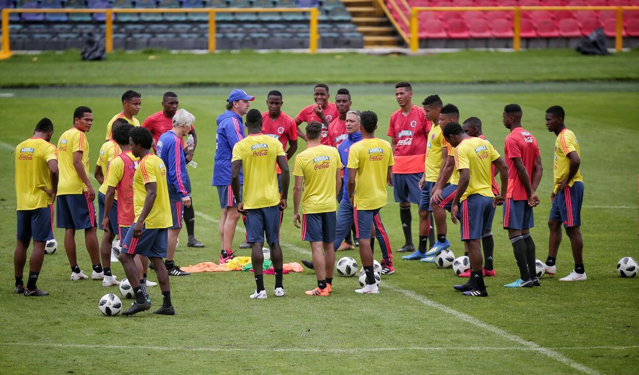 Jugadores de la Selección Colombia en entrenamiento