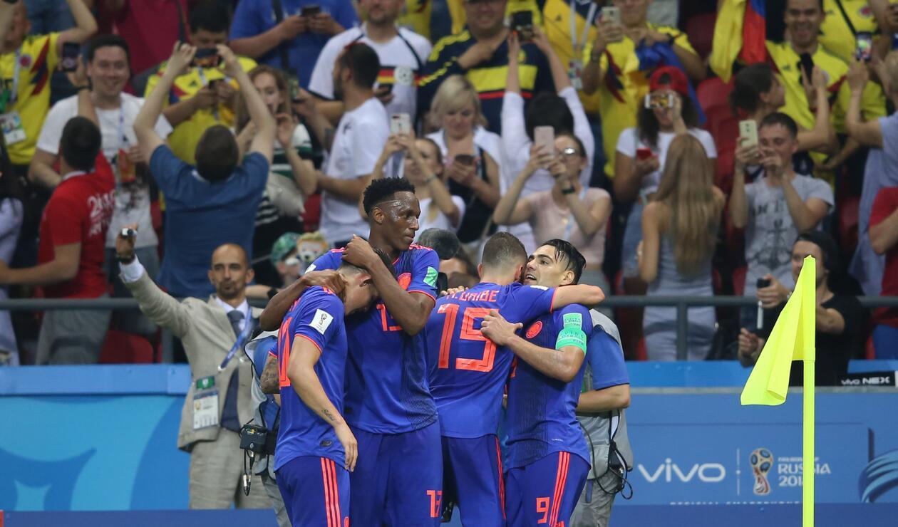 Los jugadores de Colombia celebrando
