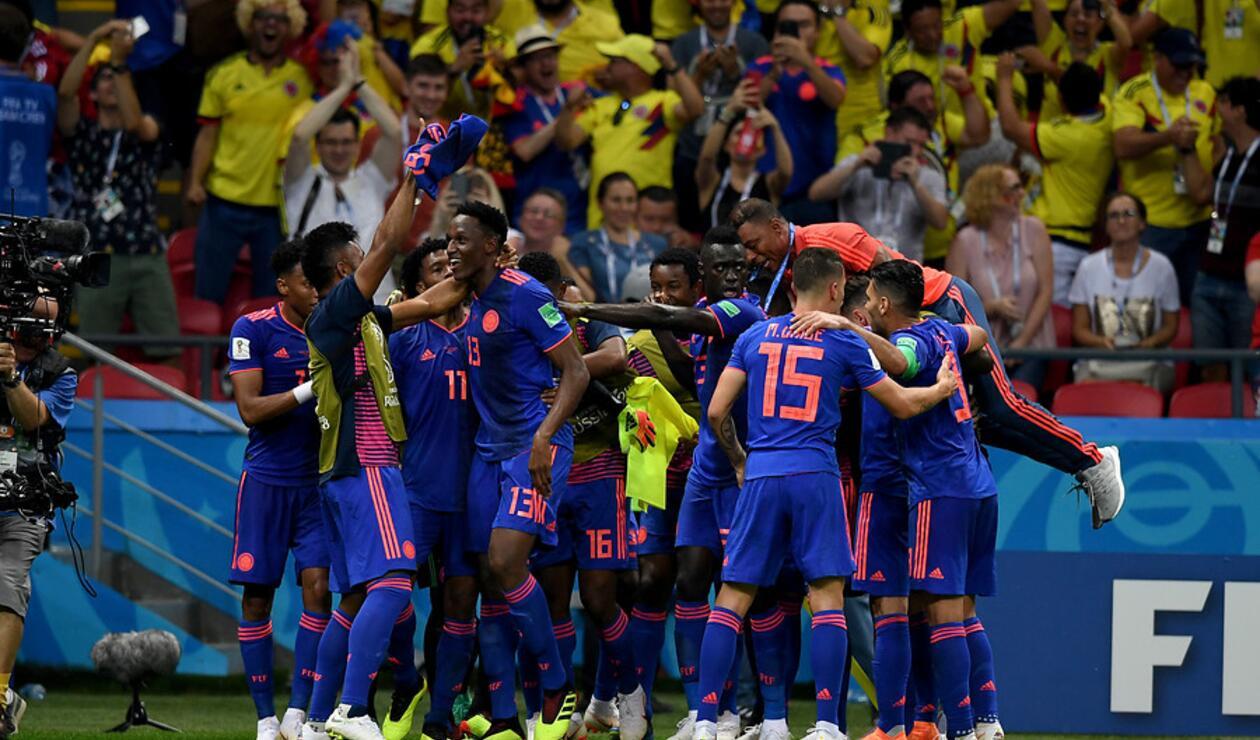 La Selección Colombia en su victoria sobre Polonia en Rusia 2018
