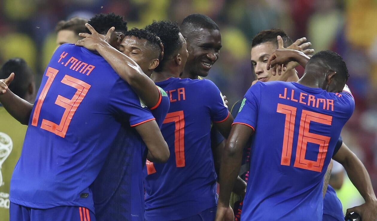Jugadores de la Selección Colombia celebrando un gol ante Polonia