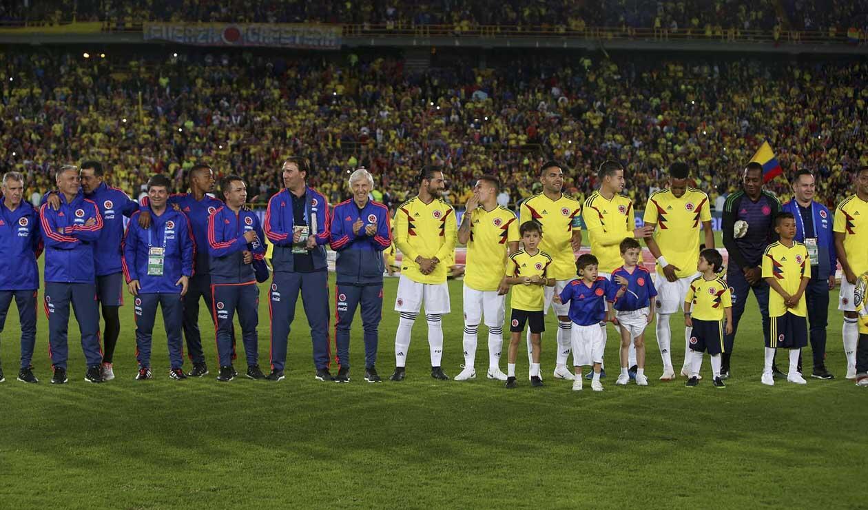 Selección Colombia en su despedida en Bogotá previo al Mundial de Rusia, evento realizado en el estadio El Campín