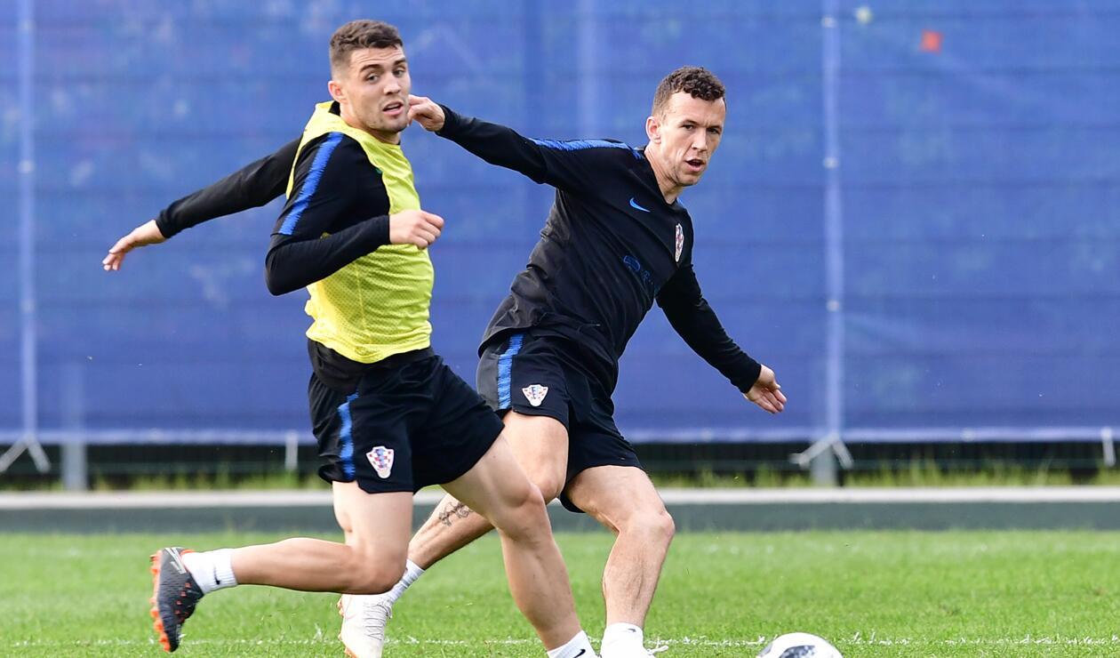 Jugadores de Croacia en entrenamiento