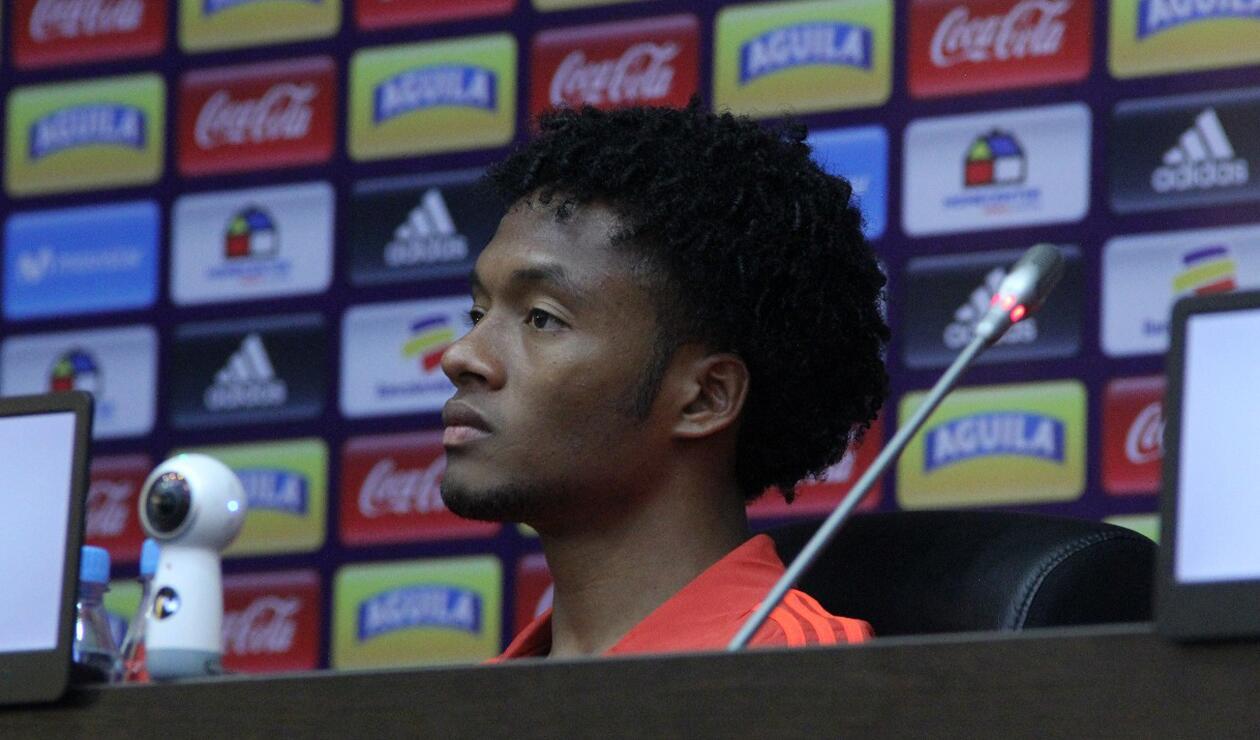 Cuadrado en la rueda de prensa previo al partido ante Senegal
