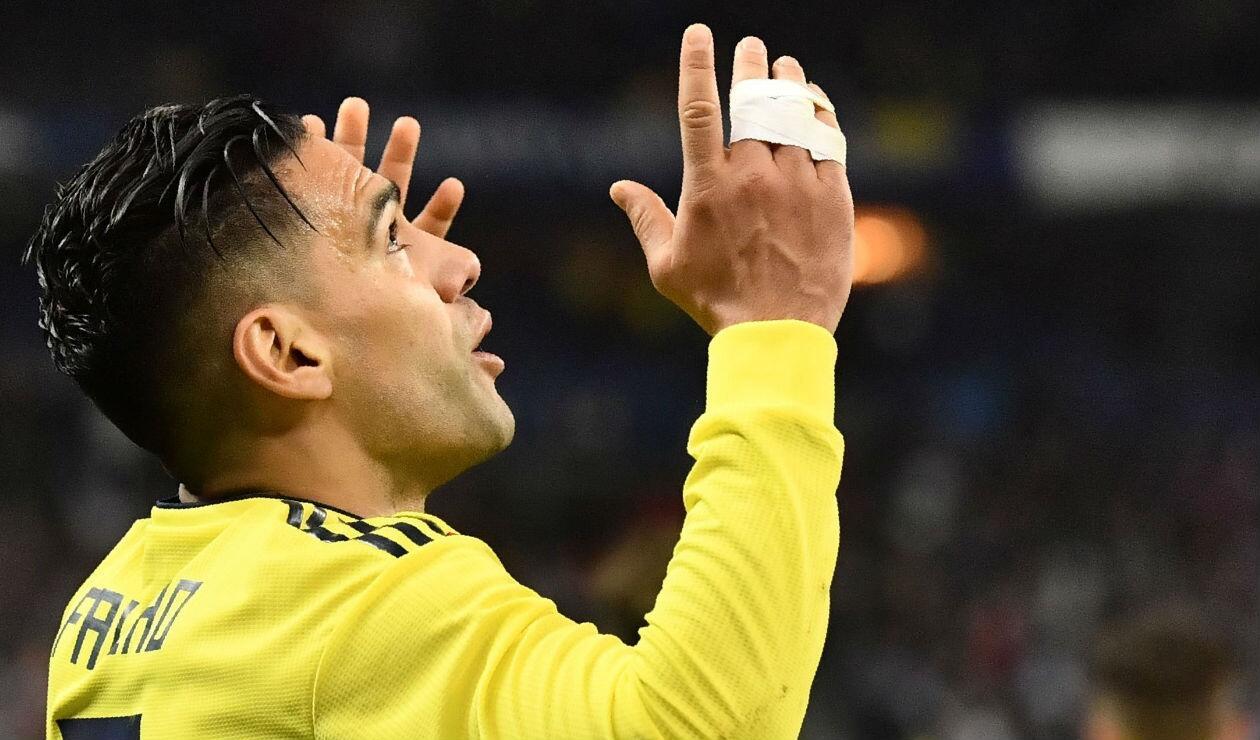 Falcao García, delantero de la Selección Colombia, celebrando un gol