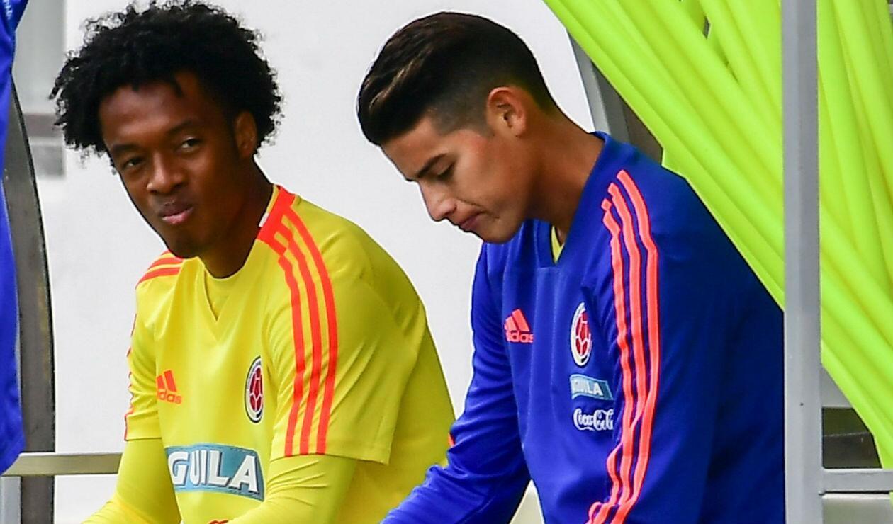 Juan Guillermo Cuadrado y James Rodríguez, jugadores de la Selección Colombia