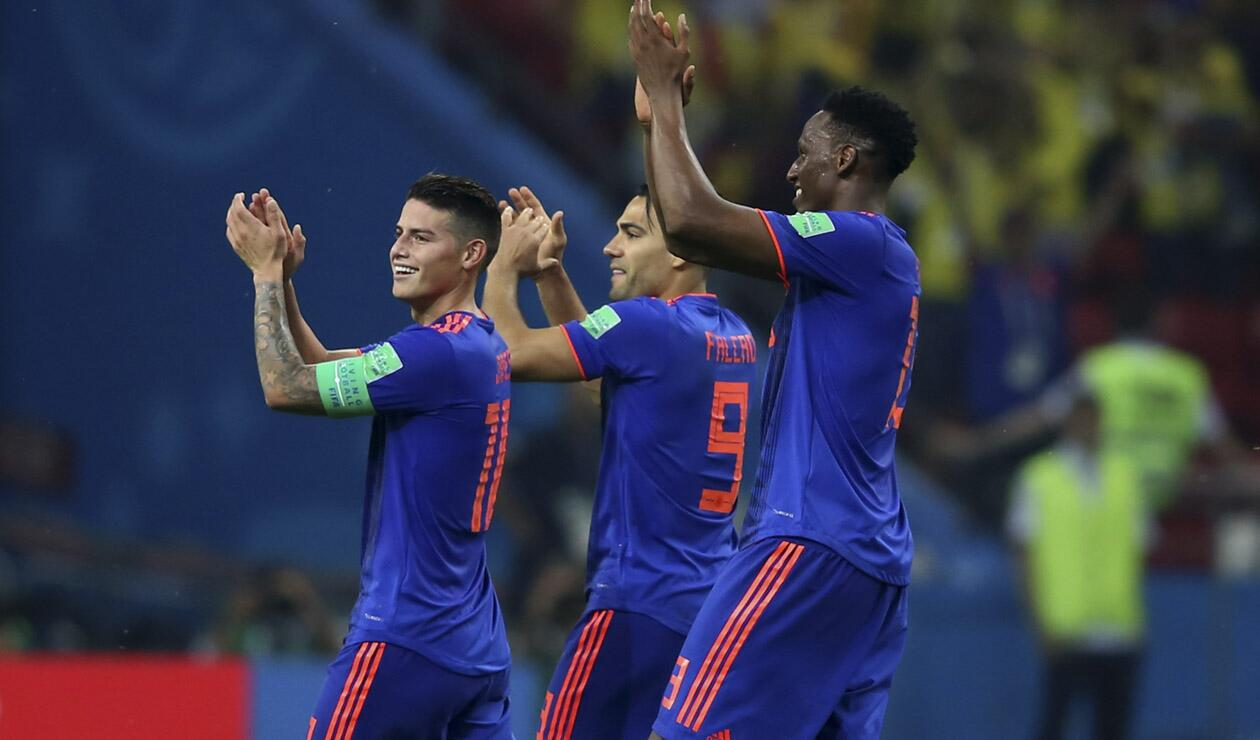 James, Falcao y Yerry Mina celebrando