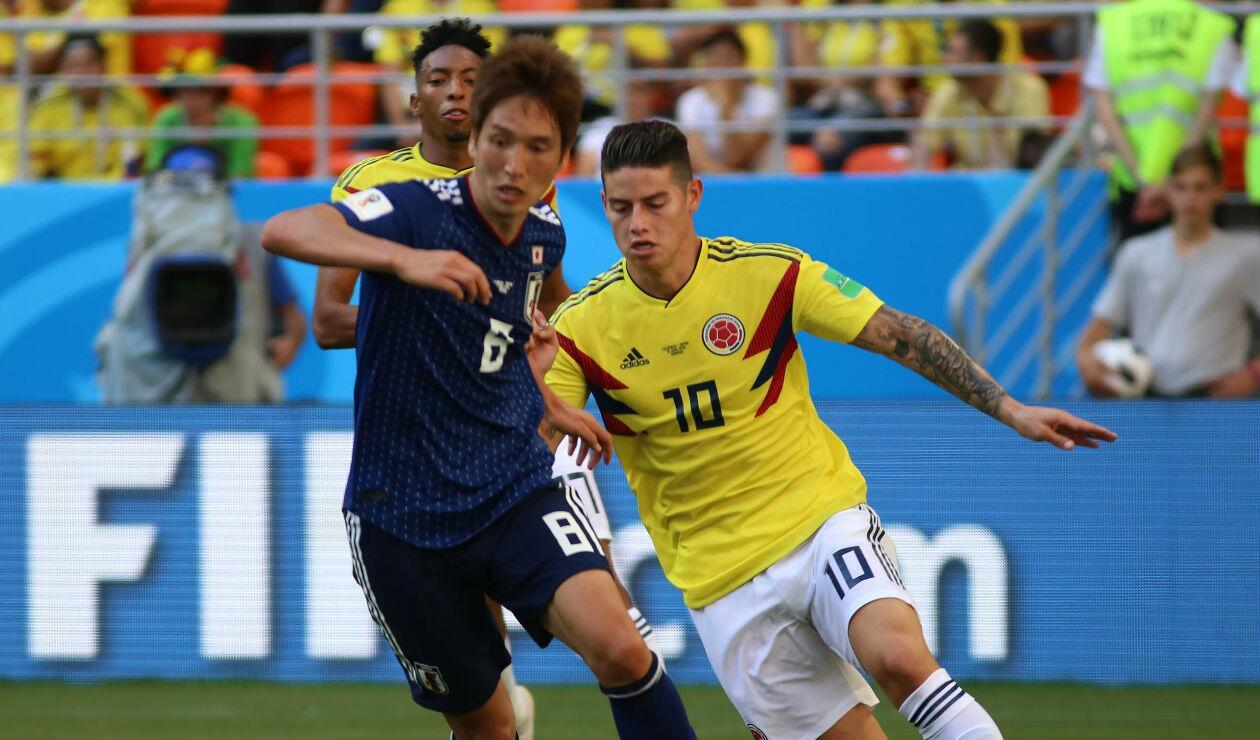 James Rodríguez, jugador de la Selección Colombia, actuando ante Japón
