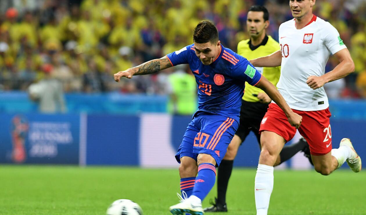 Juan Fernando Quintero en el juego entre Colombia y Polonia en Rusia 2018