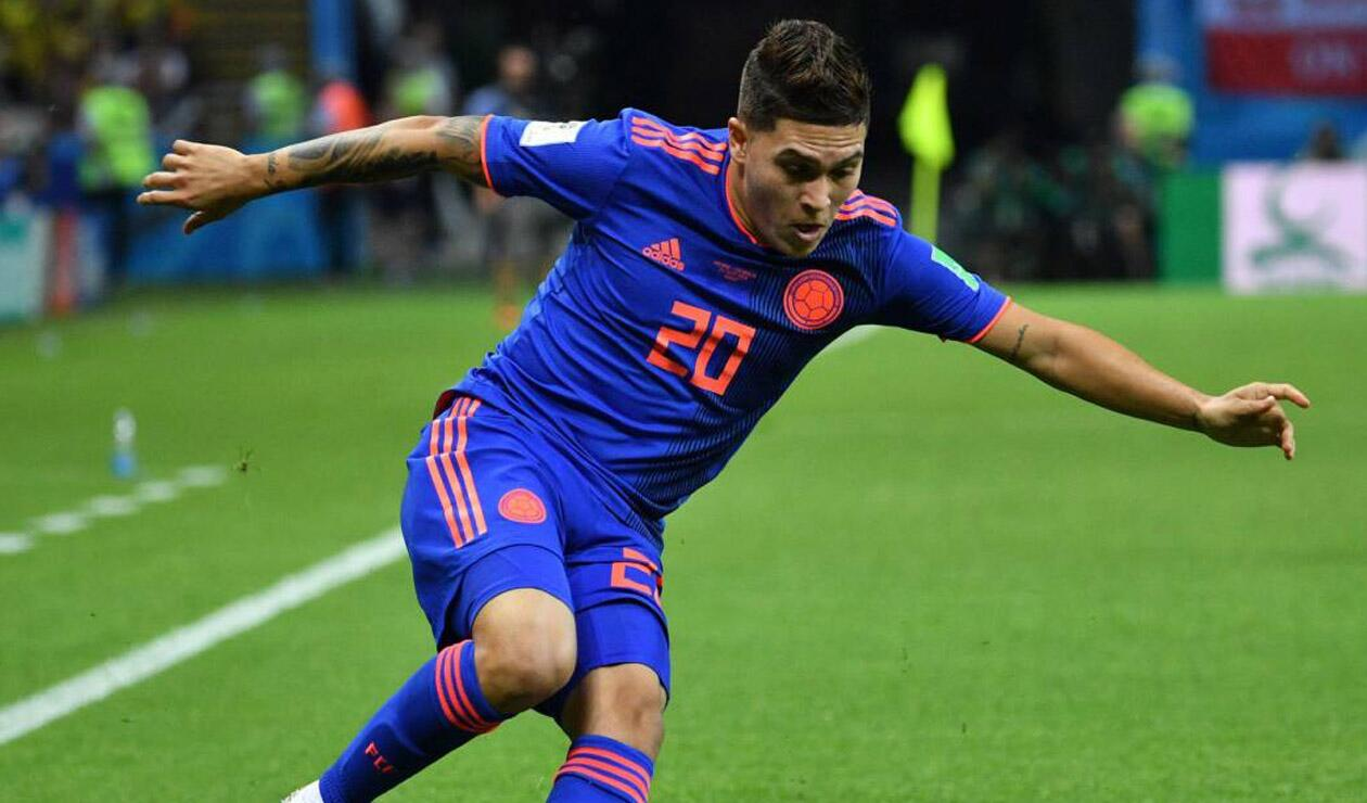 Juan Fernando Quintero jugando con Colombia ante Polonia