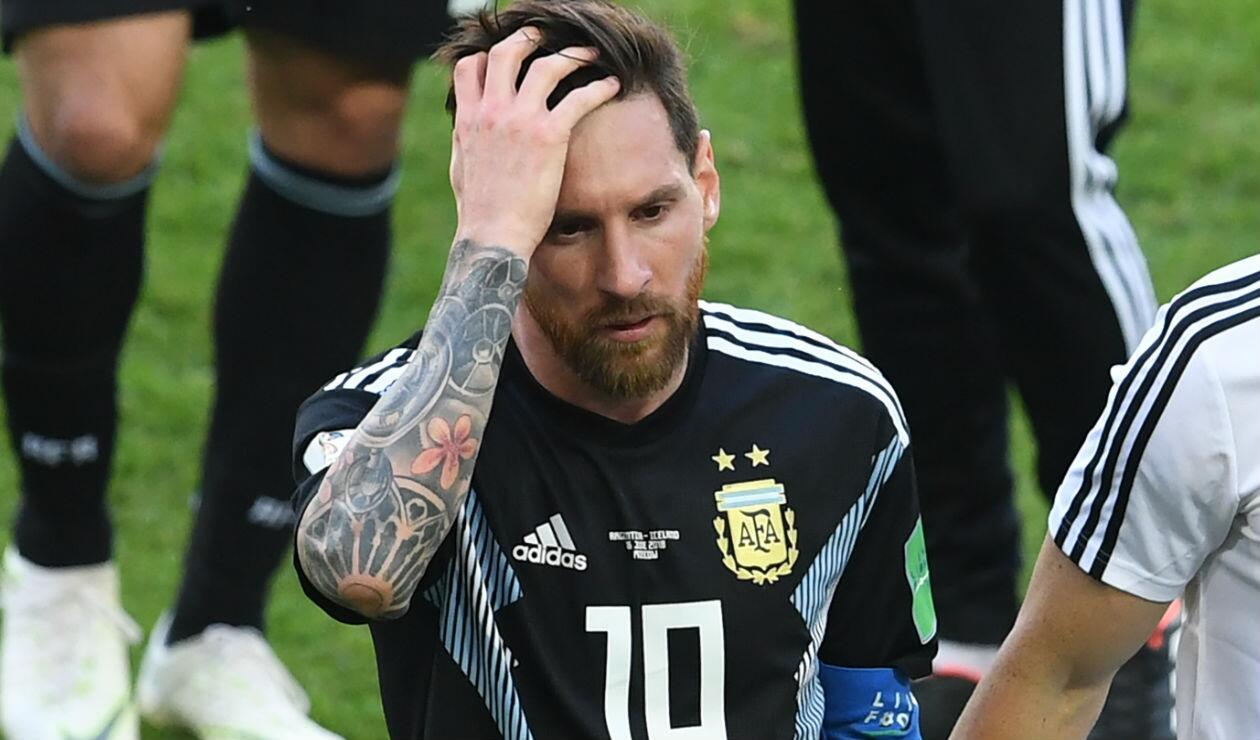 Lionel Messi después del juego entre Argentina e Islandia