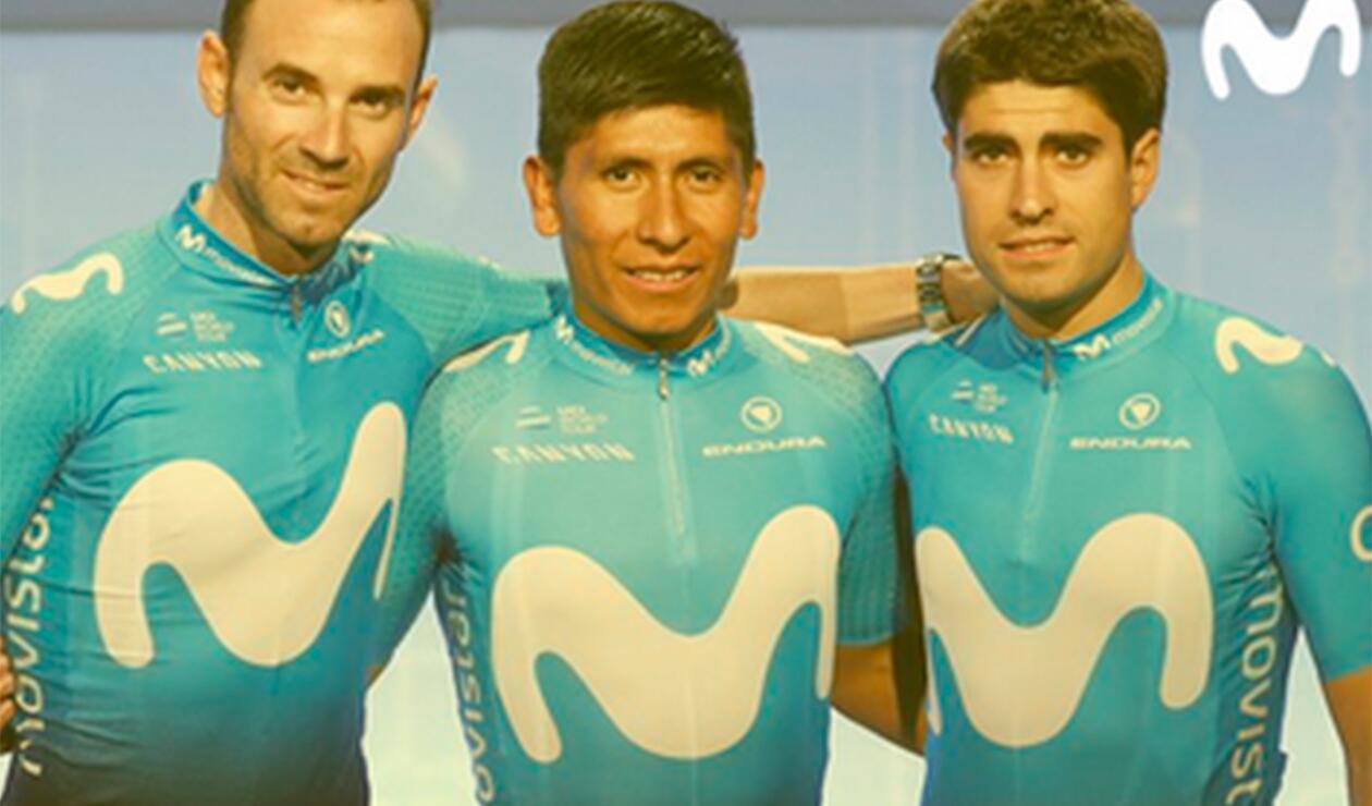 Alejandro Valverde, Nairo Quintana y Mikel Landa, ciclistas al servicio de Movistar Team