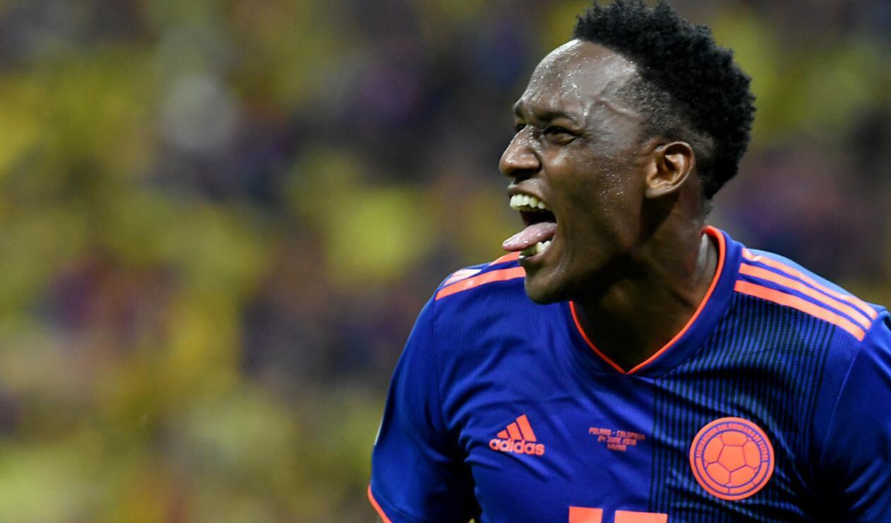 Yerry Mina celebrando su anotación con Colombia ante Polonia
