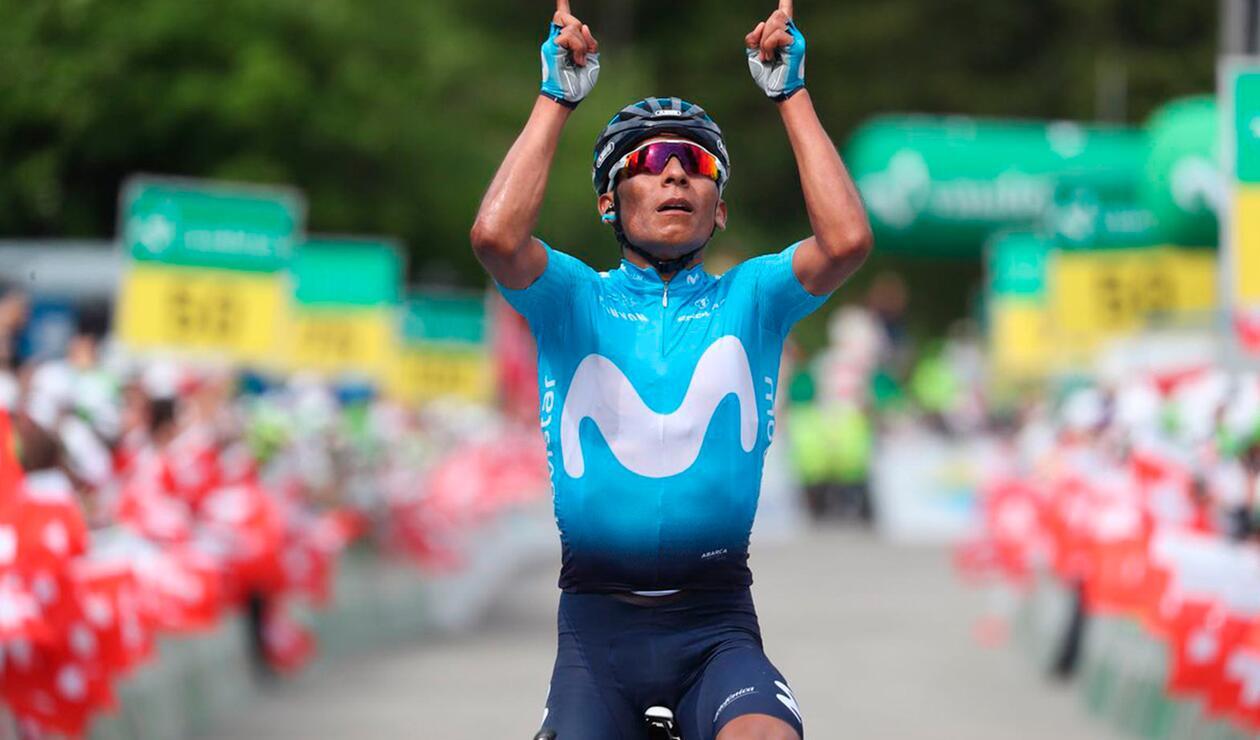 Nairo Quintana luego de ganar la séptima etapa de la Vuelta a Suiza
