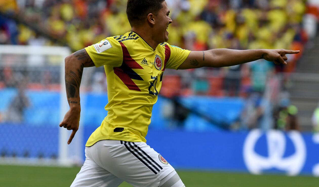 Juan Fernando Quintero celebrando su gol ante Japón en Rusia 2018