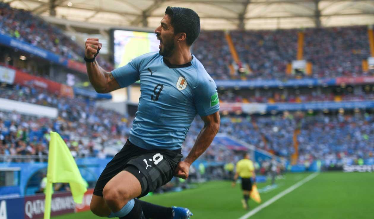Luis Suárez, delantero de Uruguay, en el gol ante Arabia Saudita