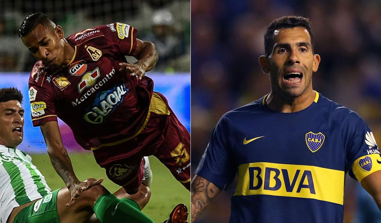 Sebastián Villa y Carlos Tévez, jugadores de Boca Juniors