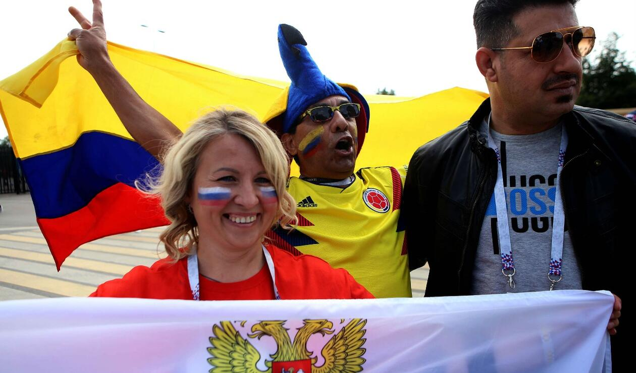 Colombianos en el estadio Luzhniki
