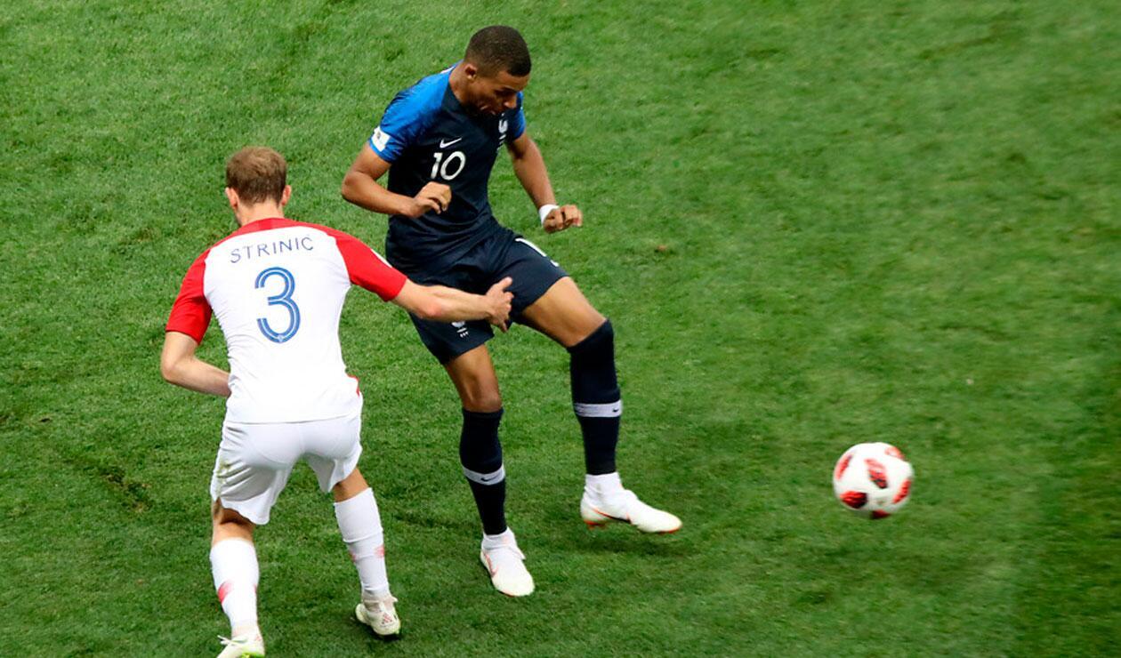 Kyllian M'bappe durante el partido ante Francia en la final del Mundial Rusia 2018