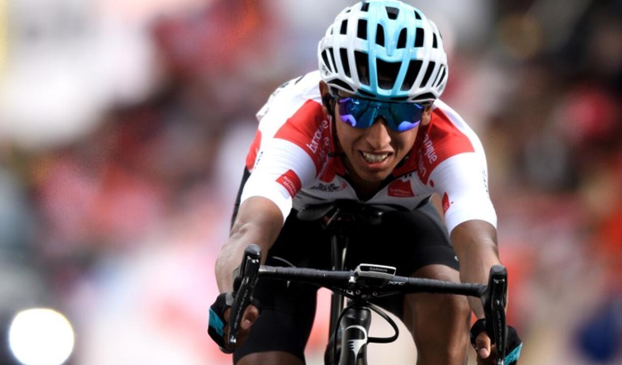 El colombiano Egan Bernal en la meta del Tour de Romandia 2018
