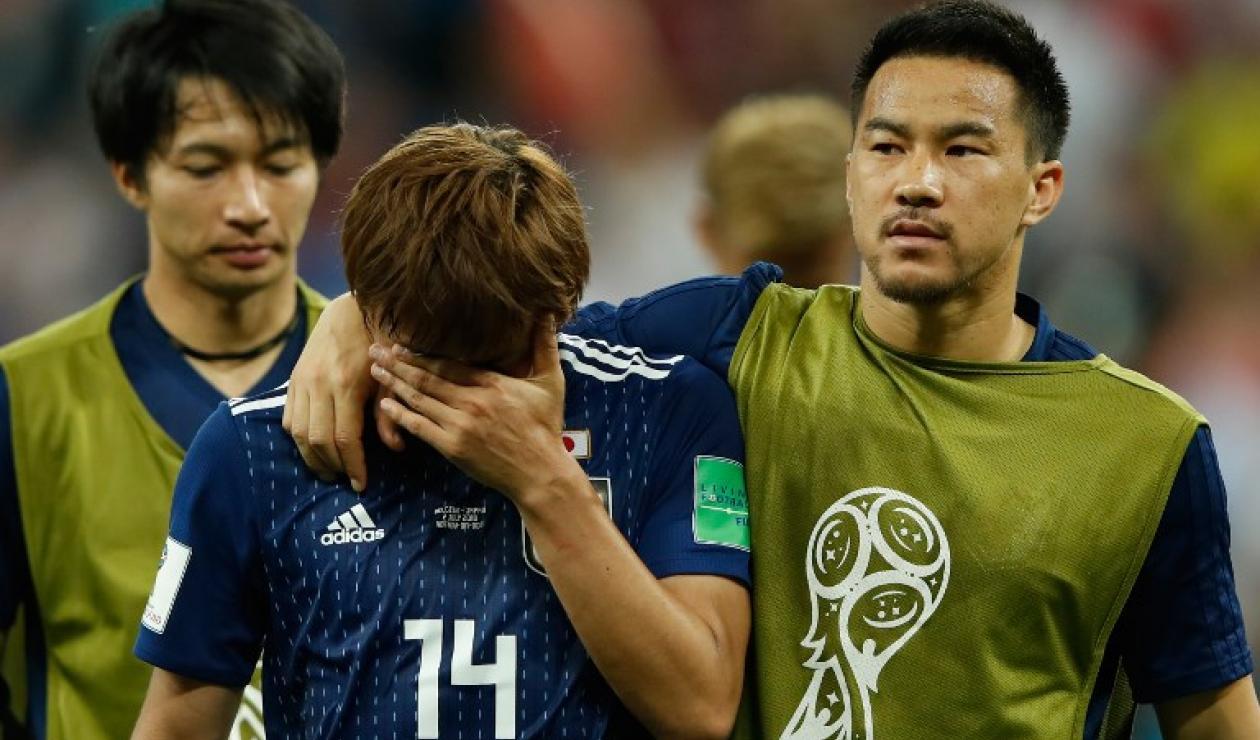Los japoneses lamentan el gol al último minuto de Bélgica que los eliminó de Rusia-2018.