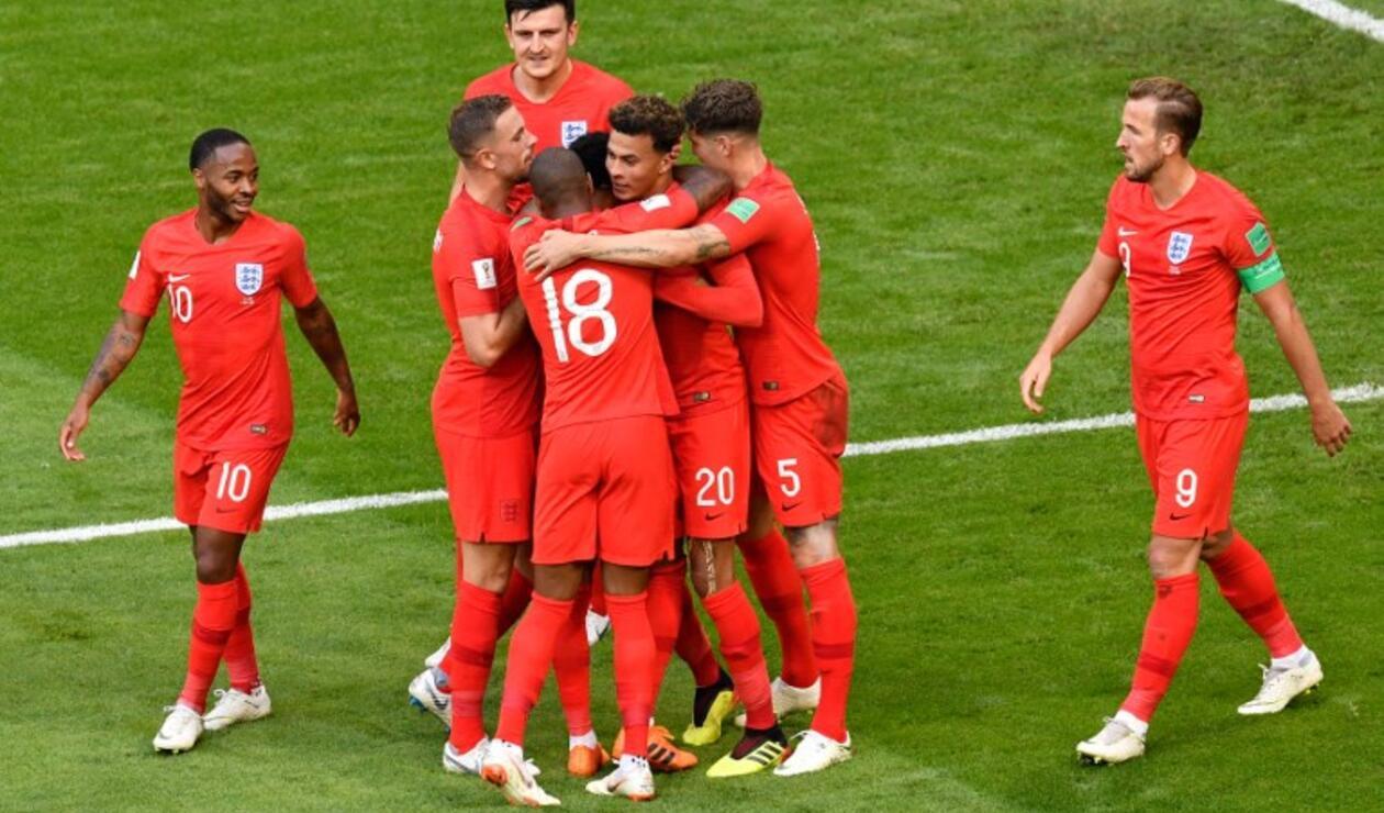 Inglaterra celebrado el primer gol ante Suecia en los cuartos del Mundial de Rusia