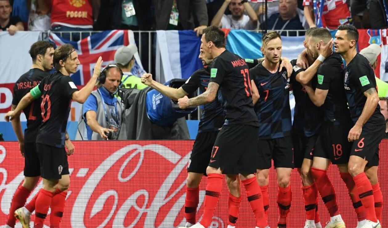 Croacia celebrando la igualdad ante Inglaterra en las semifinales de Rusia 2018.