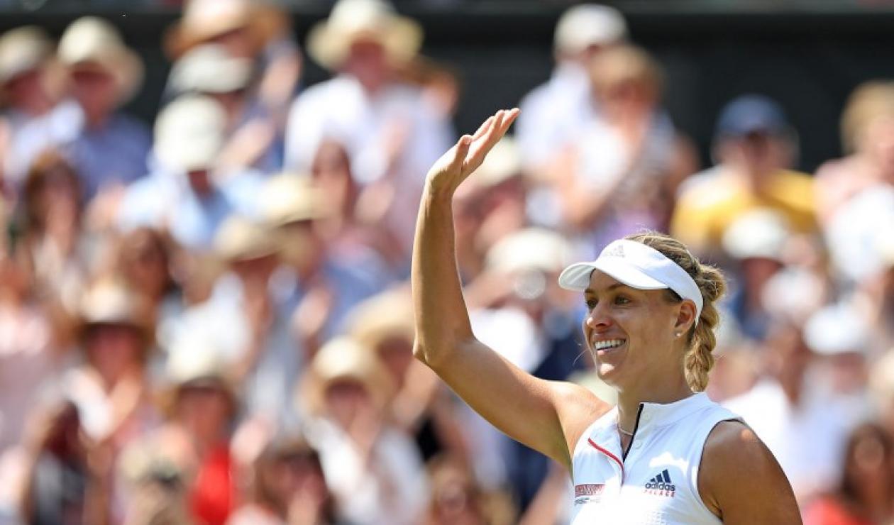 La alemana Angelique Kerber celebrando su clasificación a la final de Wimbledon