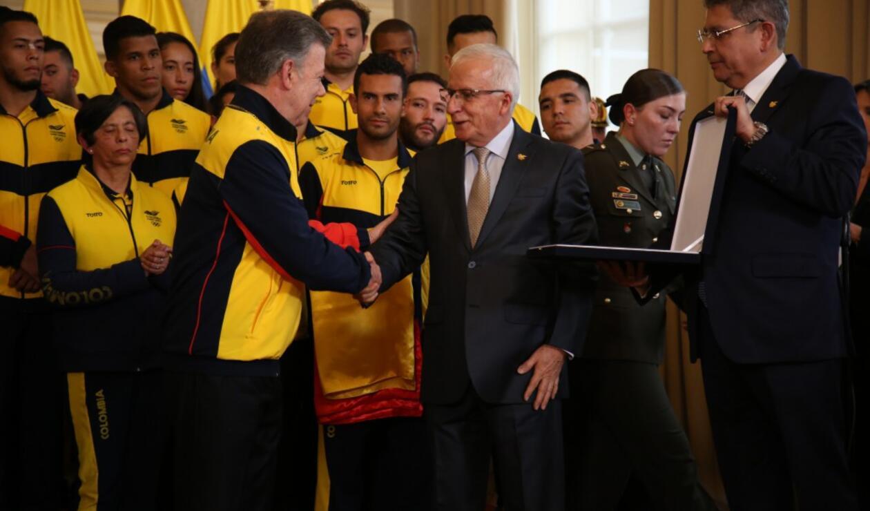 Presidente Santos en el evento del abanderado de Colombia