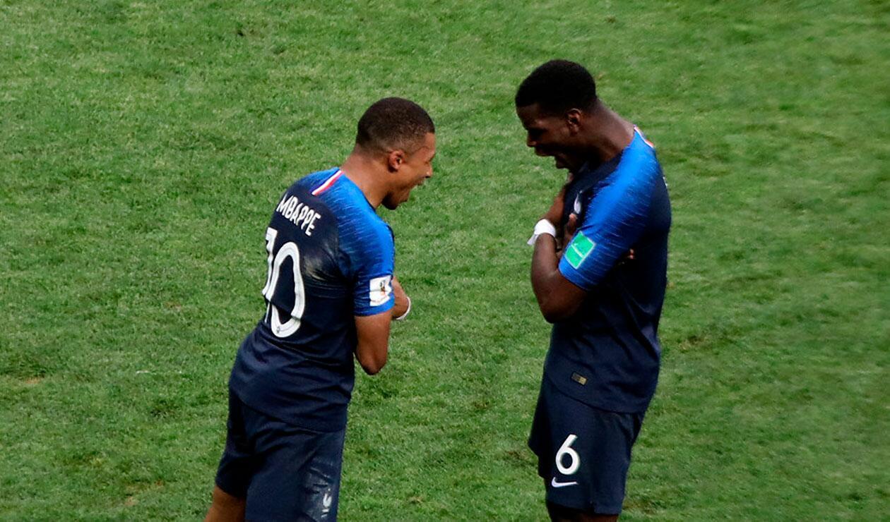 Kyllian M'bappe celebra con Paul Pogba el tercer gol de Francia ante Croacia