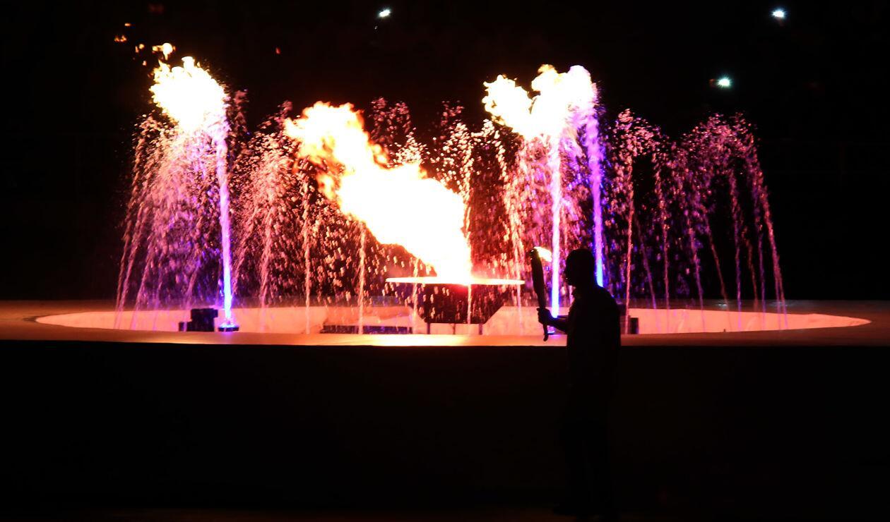 La llama olímpica en la inauguración de los Juegos Centroamericanos y del Caribe