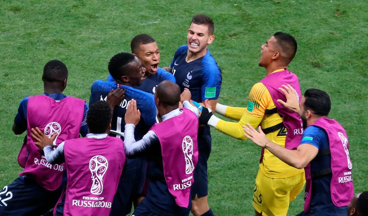Kyllian M'bappe celebra el gol marcado en la final del Mundial Rusia 2018