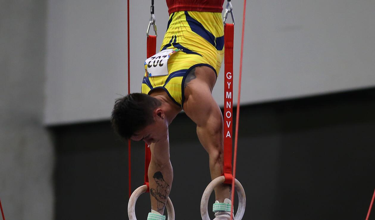 Jossimar Calvo en la prueba de gimnasia artística de los los Juegos Centroamericanos y del Caribe Barranquilla 2018