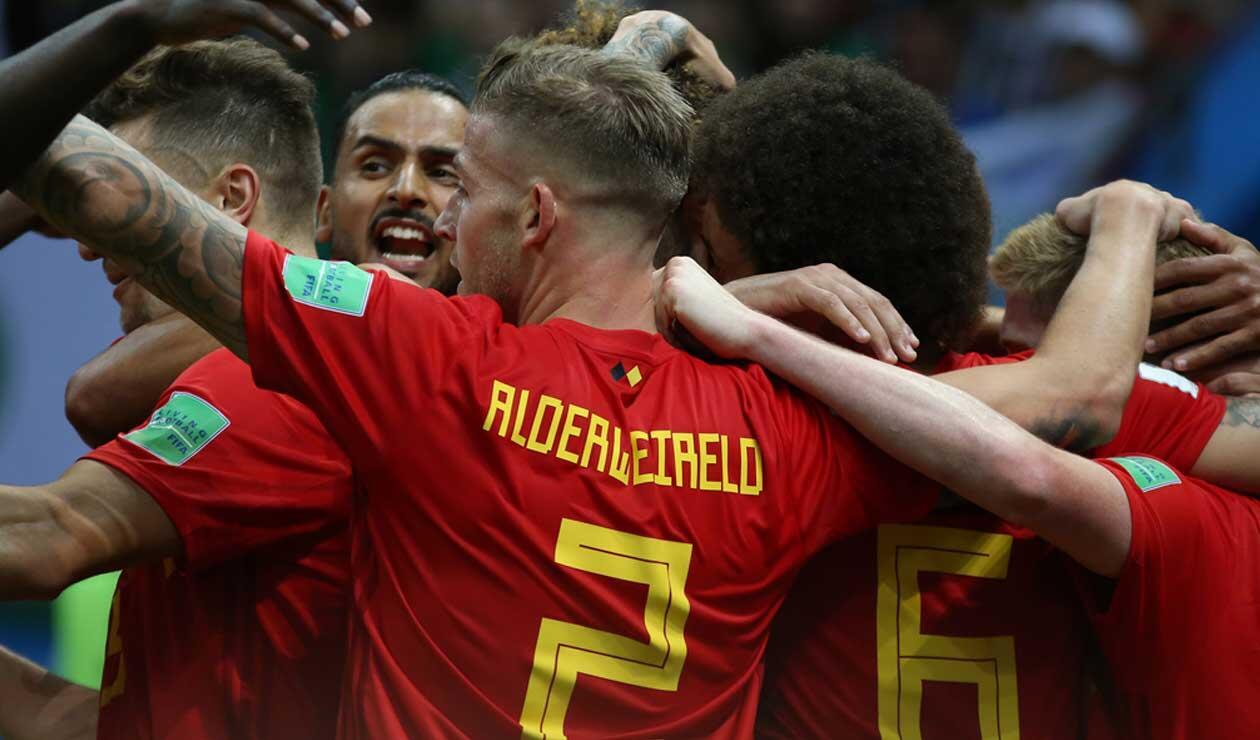 Bélgica celebra uno de sus goles ante Brasil en los cuartos de final del Mundial