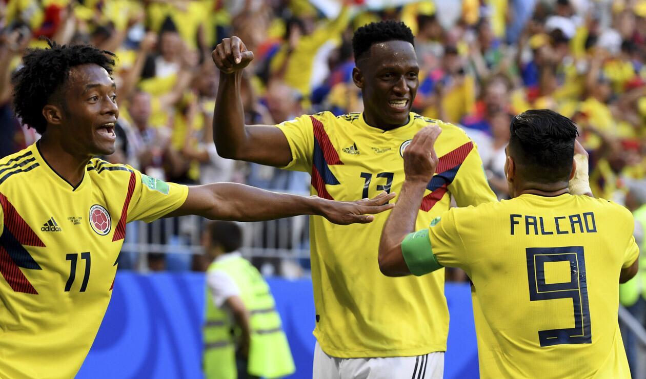 La Selección Colombia festejando el gol ante Senegal en Rusia 2018