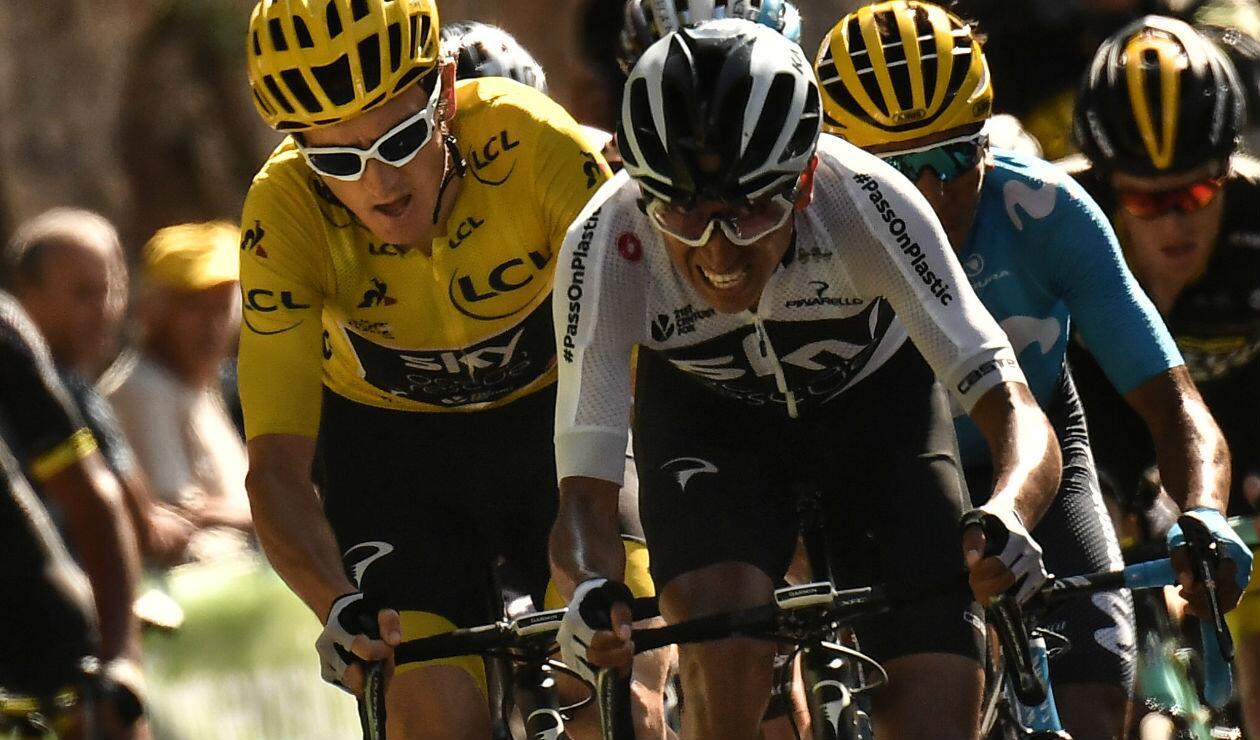 Egan Bernal con el Sky Team en el Tour de Francia 2018