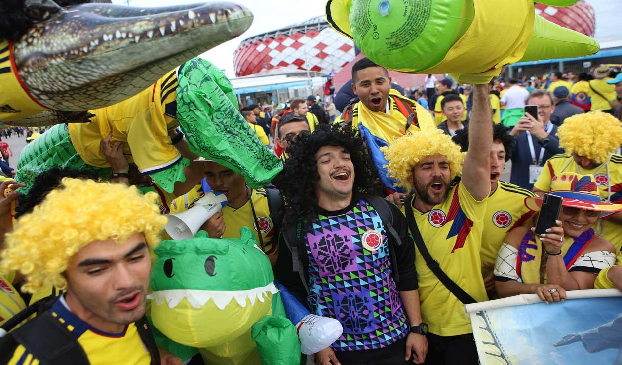 Hinchas de Colombia antes del partido ante Inglaterra