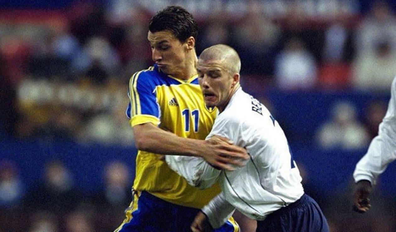Zlatan Ibrahimovic y David Beckham realizan una apuesta previo a Suecia-Inglaterra
