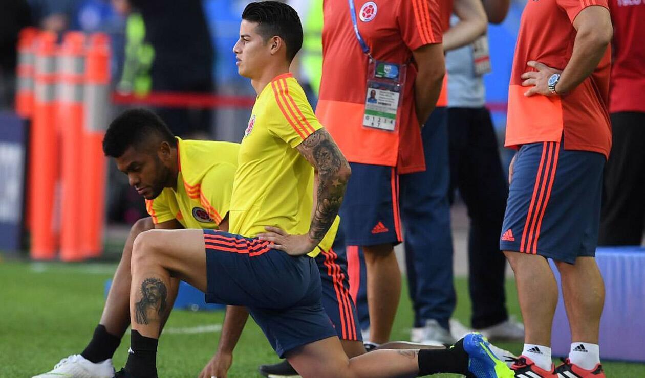 Miguel Ángel Borja y James Rodríguez entrenando con Colombia