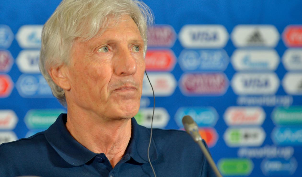 José Pékerman durante una rueda de prensa como técnico de Colombia en Rusia 2018