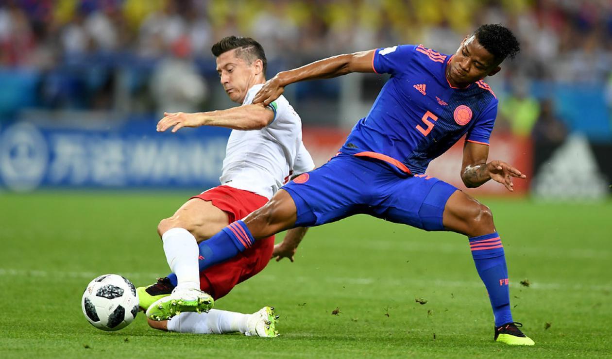 Wilmar Barrios con la Selección Colombia ante Polonia en Rusia 2018