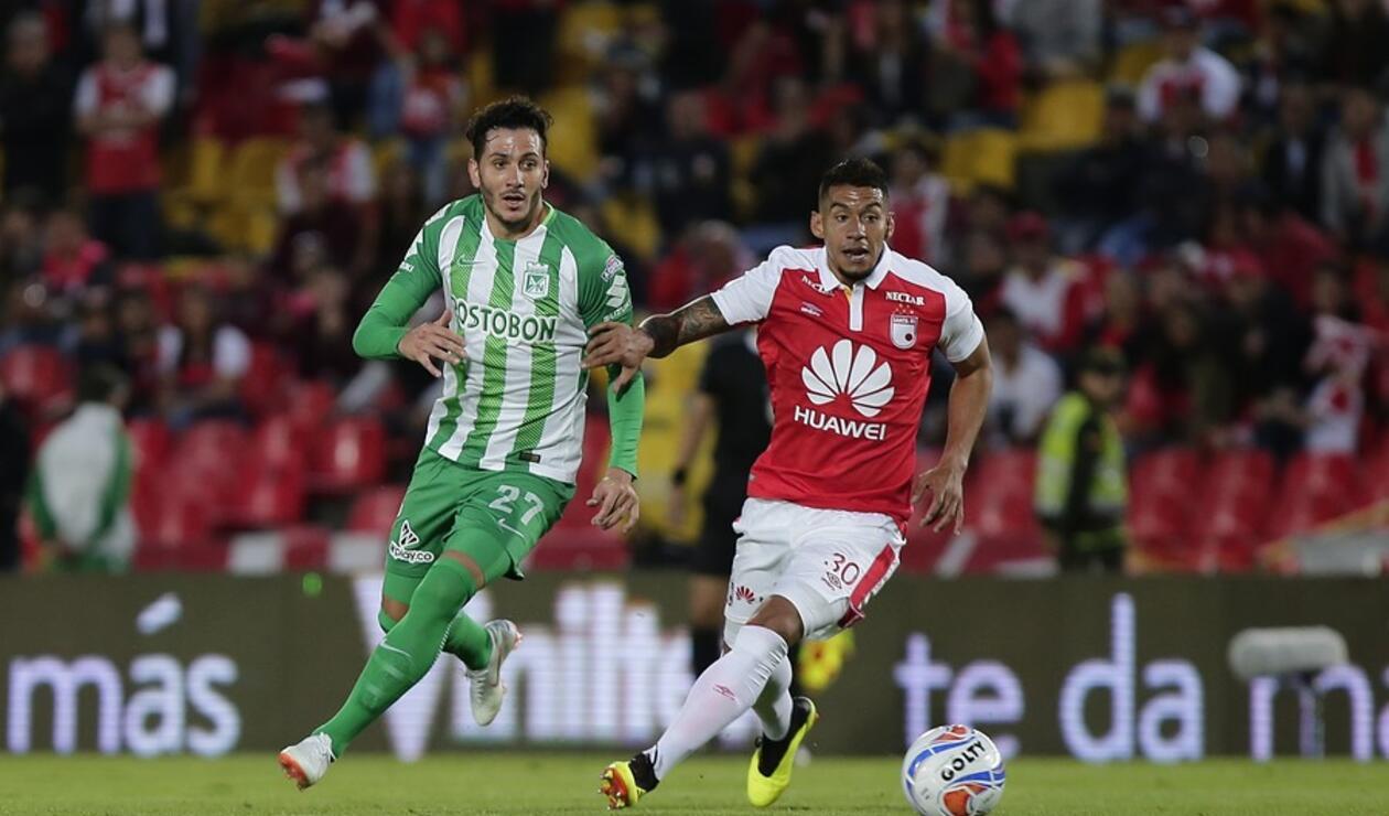 Yeison Gordillo en el juego entre Santa Fe y Nacional por la Liga Águila