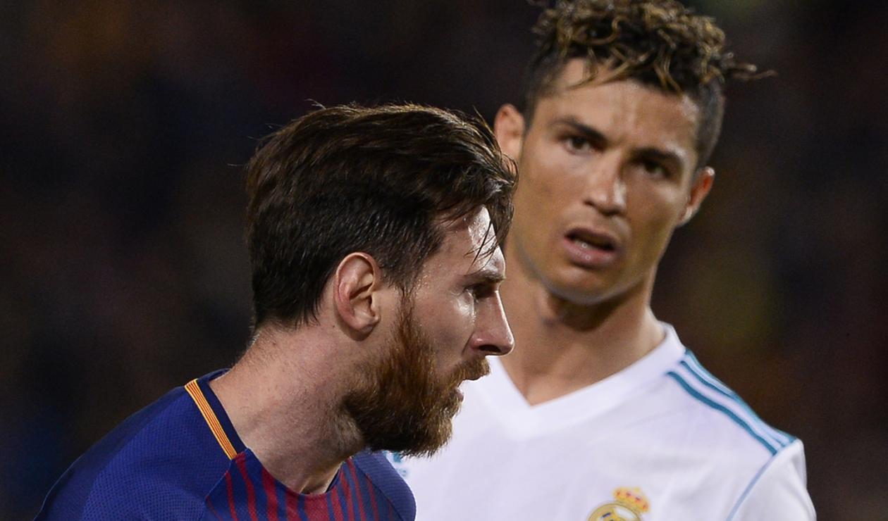 Messi y Cristiano en un clásico Barcelona vs Real Madrid