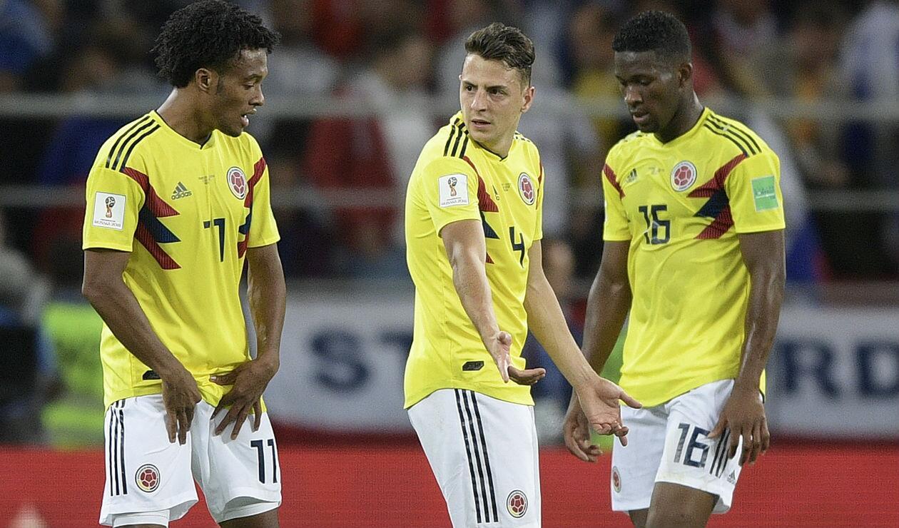 Juan Guillermo Cuadrado, Santiago Arias y Jéfersson Lerma con la Selección Colombia en Rusia 2018