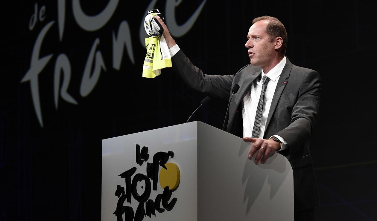 Christian Prudhomme, director del Tour de Francia, presentando la ruta oficial de la edición 2018
