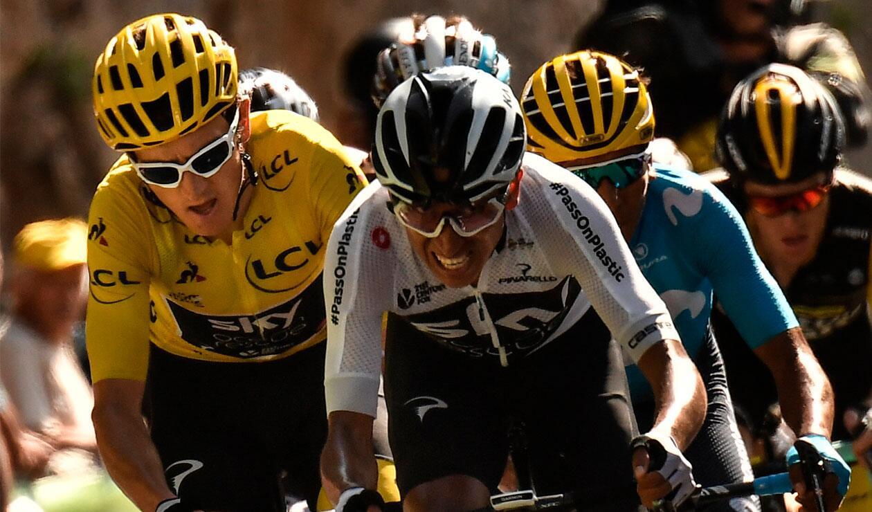 Egan Bernal junto a Geraint Thomas en una de las etapas del Tour de Francia