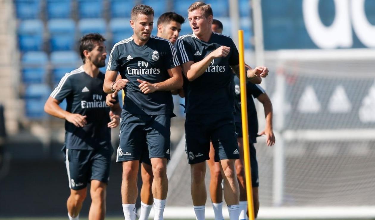 Primer entrenamiento de Kroos, Asensio, Vázquez y Nacho con el Madrid